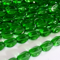 40 Green Crystal Glass 13x10mm Twisted Barrel Beads